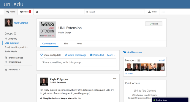 UNL Extension Group on Yammer