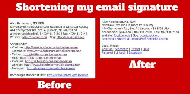 shortening email signature - fb