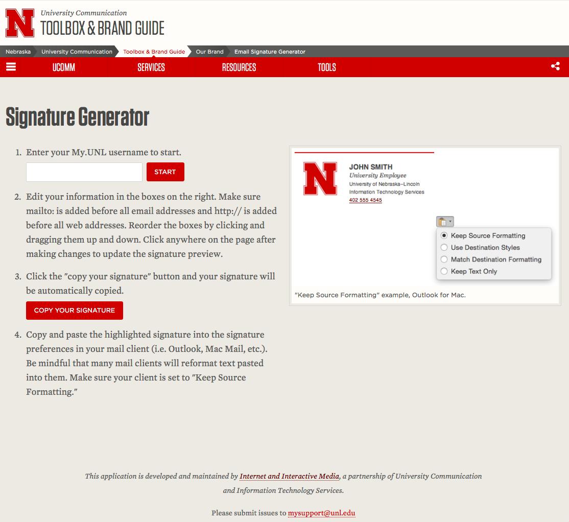 unl email signature generator