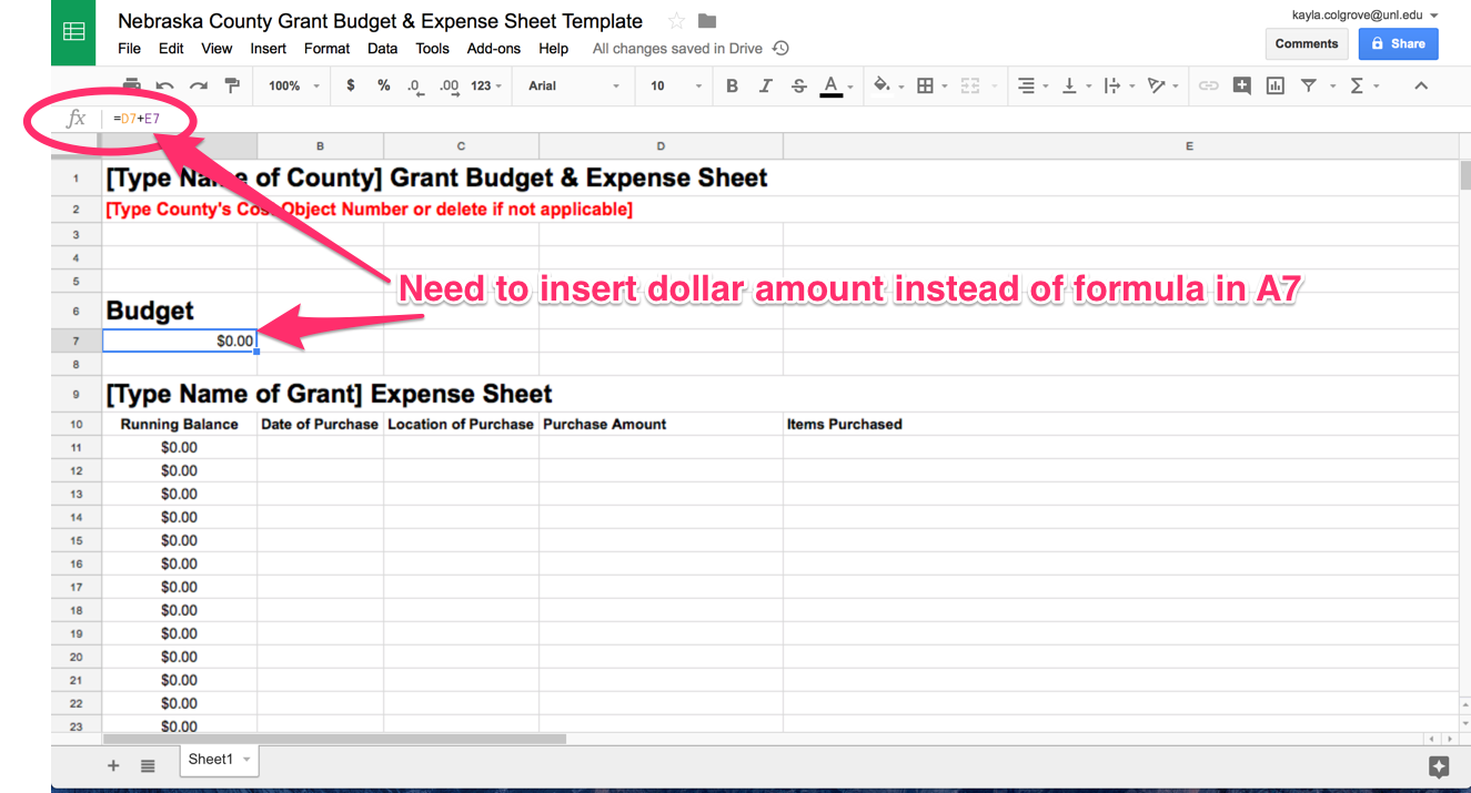 ... Additional Supplies Budget Cells, Then You Will Need To Insert A Dollar  Amount For The Budget Instead Of The Current Formula In Cell A7 For The  Running ...  Expense Sheets Template